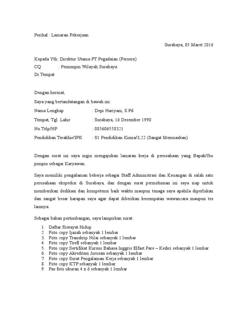 Surat Lamaran Kerja Pt Pegadaian Persero
