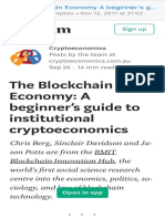 The Blockchain Economy a Beginner's Guide to Institutional Cryptoeconomics