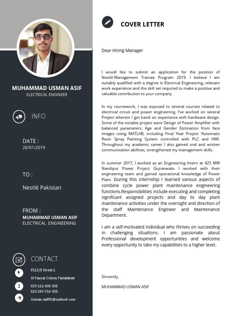 Cover Letter | Engineering | Electrical Engineering