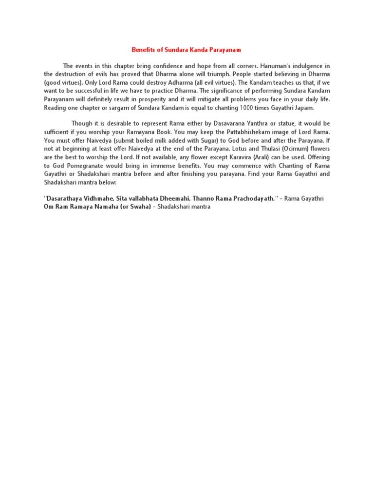 Benefits of Sundara Kanda Parayanam