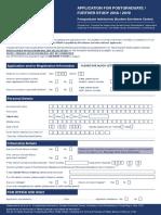 Application for Postgraduate Further Study App Form 2018 2019 v 31 July 2018 for Web