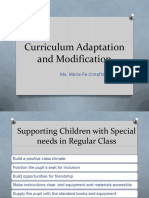 Curriculum Adaptation and Modification