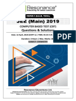 JEE Main 2019 Chemistry April Attempt Shift - 1(12th April, 2019)