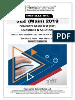 JEE Main 2019 Chemistry April Attempt Shift - 1(12th April, 2019)