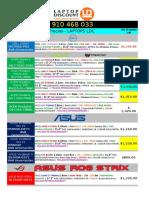 Lista de Precios de Laptops - Ldc 16 Marzo
