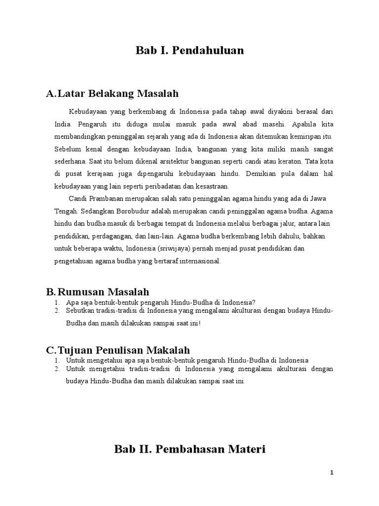 Bukti Bukti Adanya Pengaruh Hindu Budha Di Indonesia Docx