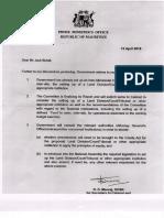 Land Tribunal - Lettre de Dev Manraj à Jack Bizlall