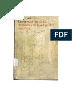 Lakatos. La metodología de los programas de investigación científica