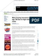 Many Buying Insurance Up to Age 100 Due to High Medical Costs, September 5th Y2010