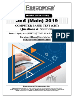 JEE Main 2019 Mathematics April Attempt Shift - 2(12th April, 2019)