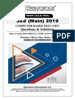 JEE Main 2019 Mathematics April Attempt Shift - 2(12th April, 2019)