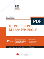 Partiels blancs Semestre 2, 2019 - Les Institutions de La Ve République - Annales d'Examen
