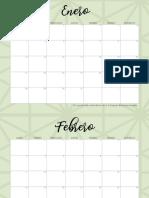 Calendario 2019 Geometrico Verde