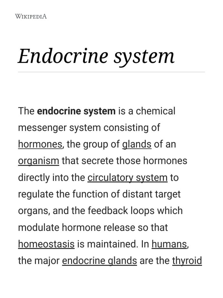 Endocrine System   Wikipedia   Endocrine System   Hormone