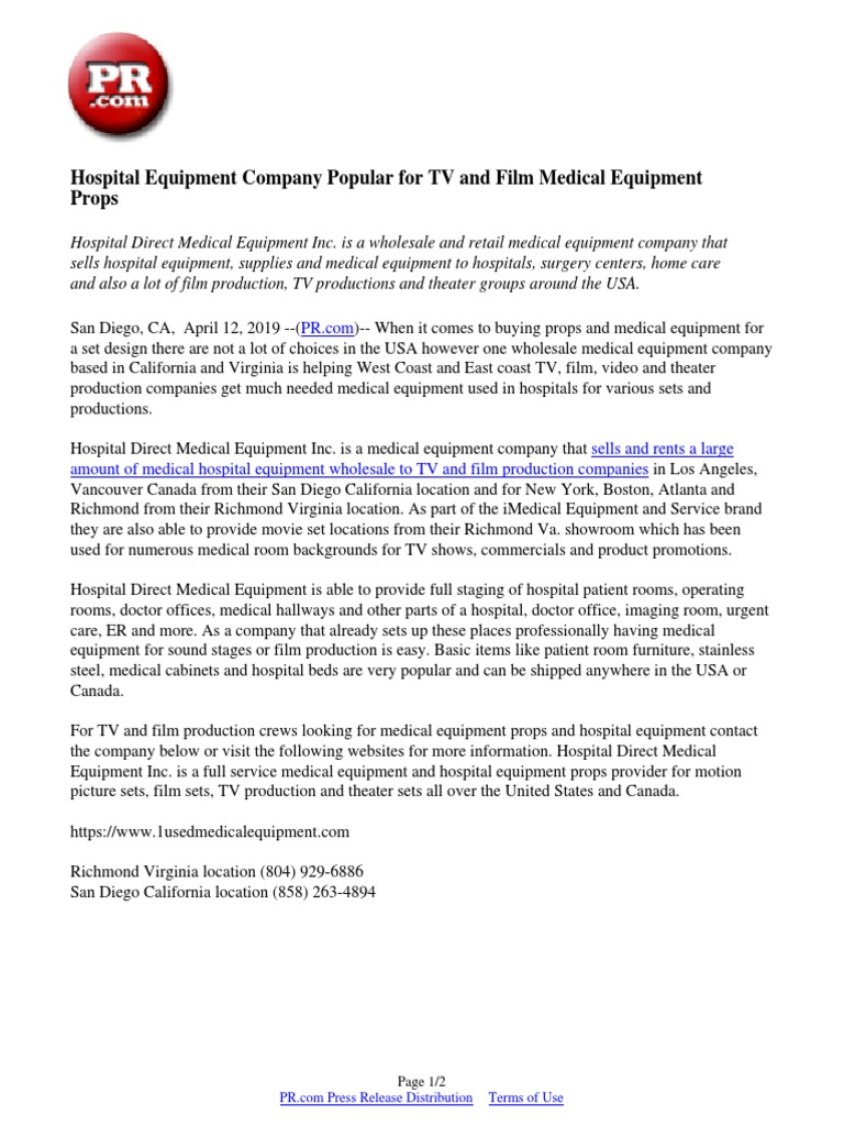 Hospital Equipment Company Popular for TV and Film Medical