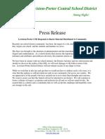 Lewiston-Porter CSD Press Release