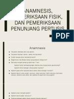 Anamnesis, PF, Dan PP Pertusis
