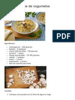 Sopa de Creme de Cogumelos