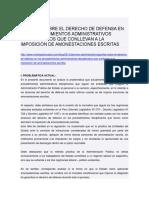 Apuntes Sobre El Derecho de Defensa en Los Procedimientos Administrativos Disciplinarios Que Conllevan a La Imposición de Amonestaciones Escritas
