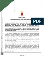 Orden de 16 de enero de 2019 de la Consejería de Educación, Juventud y Deportes