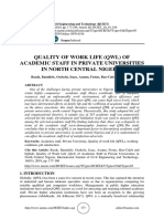 QUALITY OF WORK LIFE (QWL) OF ACADEMIC STAFF IN PRIVATE UNIVERSITIES IN NORTH CENTRAL NIGERIA