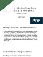 Strategia Didactică În Predarea Matematicii La Nivel Primar