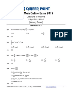 JEE Main 2019 Paper Solution Maths 09-04-2019 2nd