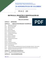RAC 20 - Matrícula, Registro e Identificación de Aeronaves