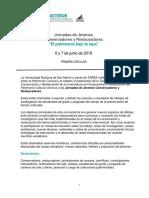 """Circular 1_ornadas de Jóvenes Conservadores y Restauradores """"El patrimonio bajo la lupa"""""""