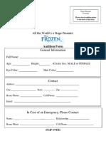 frozen audition form
