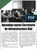 13-04-19 Aprueban nueva Secretaría de Infraestructura Vial