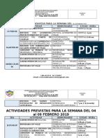 Actividades Institucionales Del 04 Al 09 de Febrero 2019