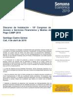 Discurso de Instalación - 10º Congreso de Acceso a Servicios Financieros y Medios de Pago CAMP 2019