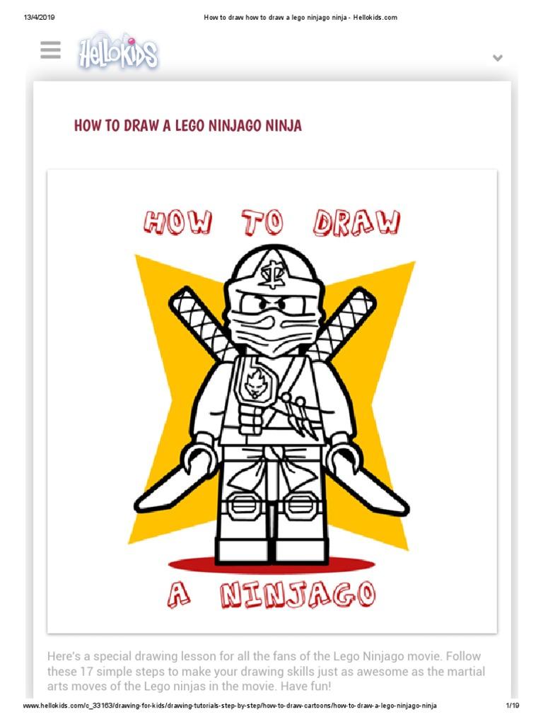 How To Draw How To Draw A Lego Ninjago Ninja Hellokidscom