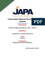 Legislación y Gestión Educativa. Tarea 5