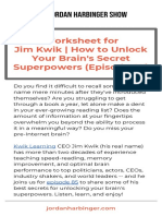 Worksheet for Jim Kwik How to Unlock Your Brains Secret Superpowers Episode 85