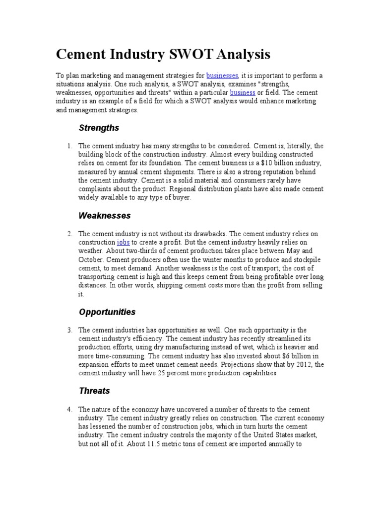 Cement Industry SWOT Analysis Cement – Industry Analysis Example