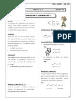 Expresiones Algebraicas - Monomios - Polinomios