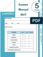 Abril - 5to Grado - Examen Mensual (2018-2019)