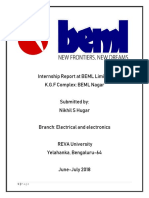 Internship Report at BEML Limited ME