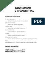 Endorsment and Transmittal