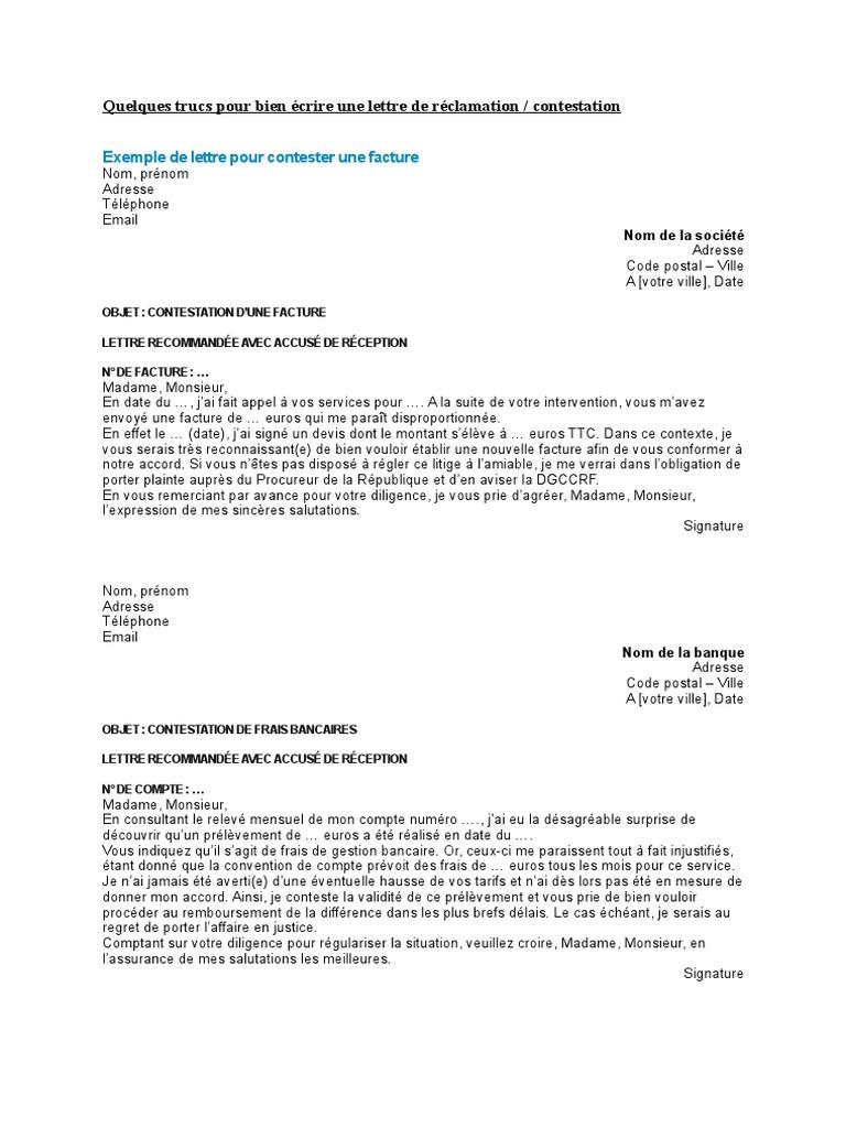 Des Lettres De Contestation Business