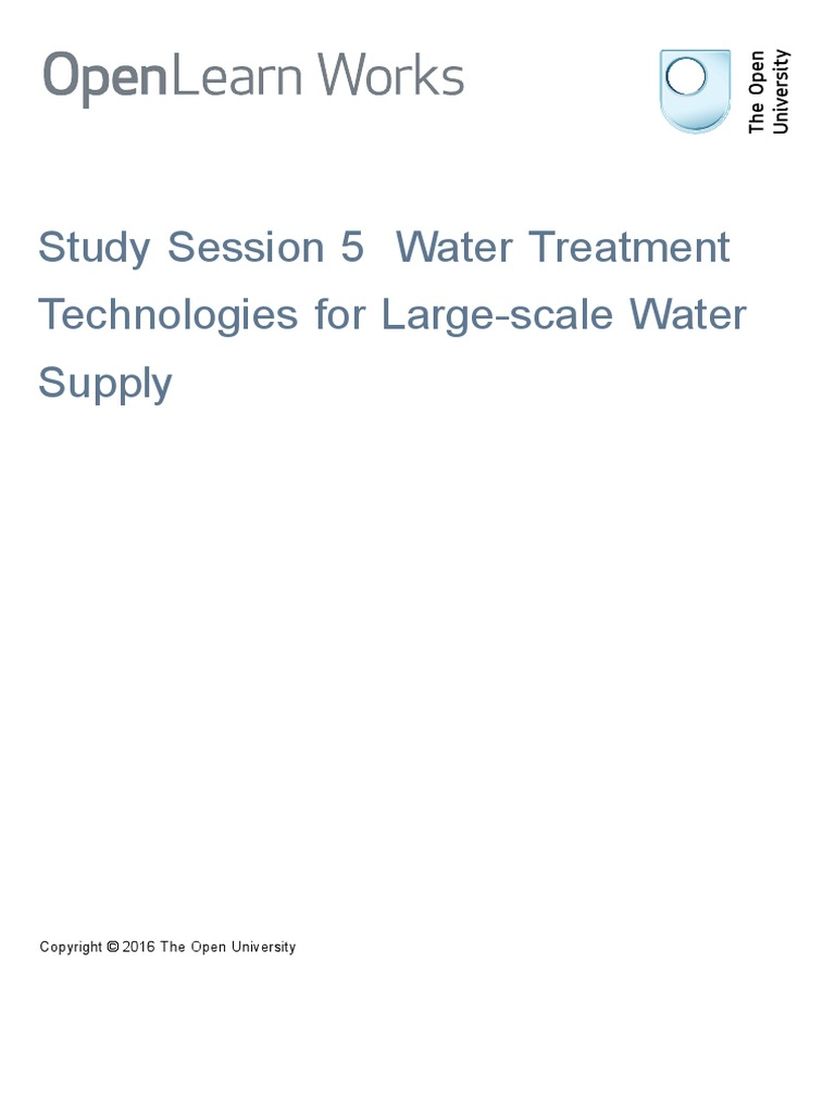 Study Session 5 Water Treatment Technologies for Large Scale