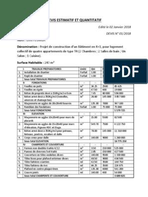 Ef Devis Estimatif Et Quantitatif Ingenierie Civile Composant