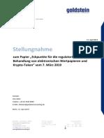 """Stellungnahme zum Papier """"Eckpunkte für die regulatorische Behandlung von elektronischen Wertpapieren und Krypto-Token"""""""