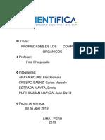 Química Orgánica 2019 - I PROPIEDADES DE LOS COMPUESTOS ORGÁNICOS