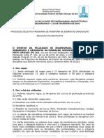 Edital 1 - Seleção de Disciplinas e Formulário de Inscrição