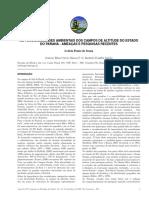As Funcionalidades Ambientais Dos Campos de Altitude Do Estado Do Paraná - Ameaças e Pesquisas Recentes