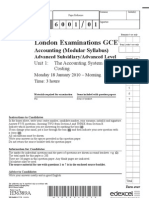 Edexcel Accounting  january 2010 unit1 question paper