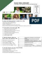 Jurassic World Worksheet